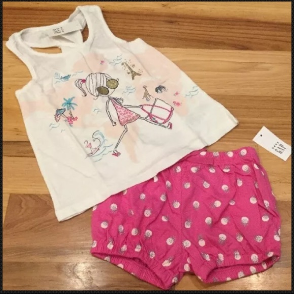 83ce9653a4ea Gap Little Girls Travel Shirt   Pink Shorts Outfit. NWT